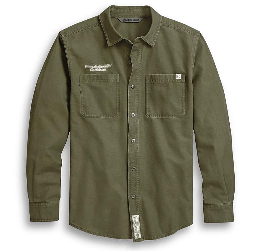 Harley-Davidson® Men's #1 Skull Woven Shirt | Dark Custom™ | Long Sleeves | Slim Fit