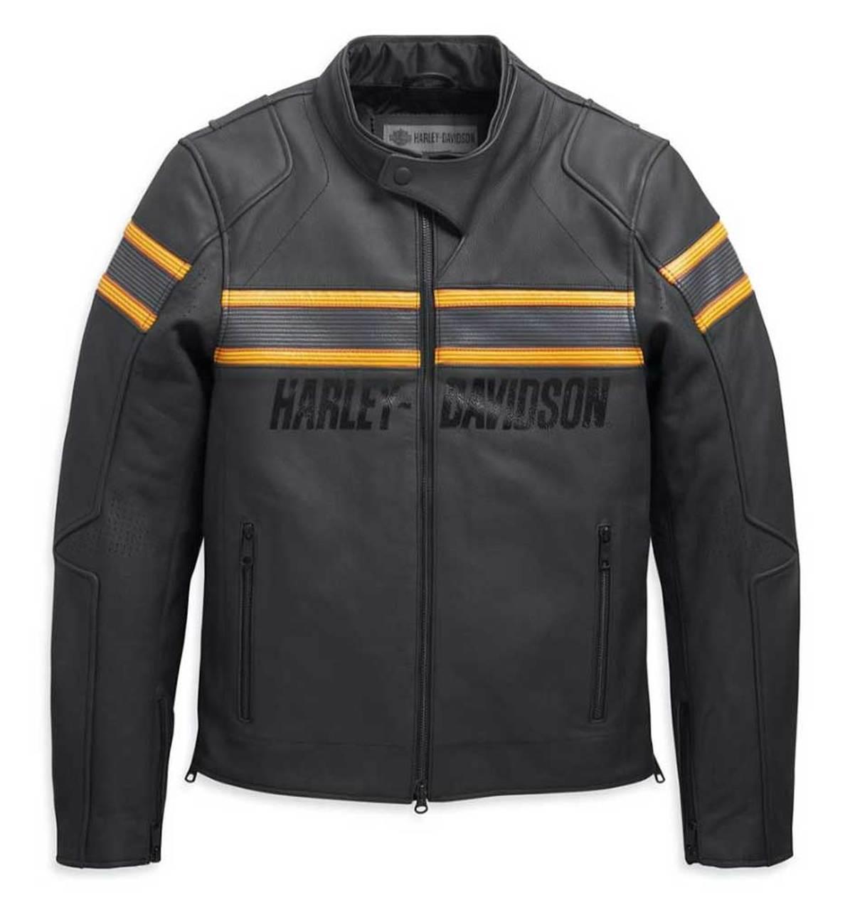 Harley-Davidson® Men's Sidari Venting Slim Fit Leather Jacket, Black