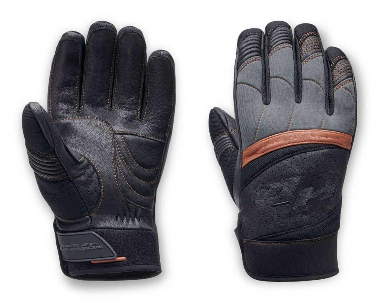 Harley-Davidson® Men's Killian Mixed Media Full-Finger Gloves, Black