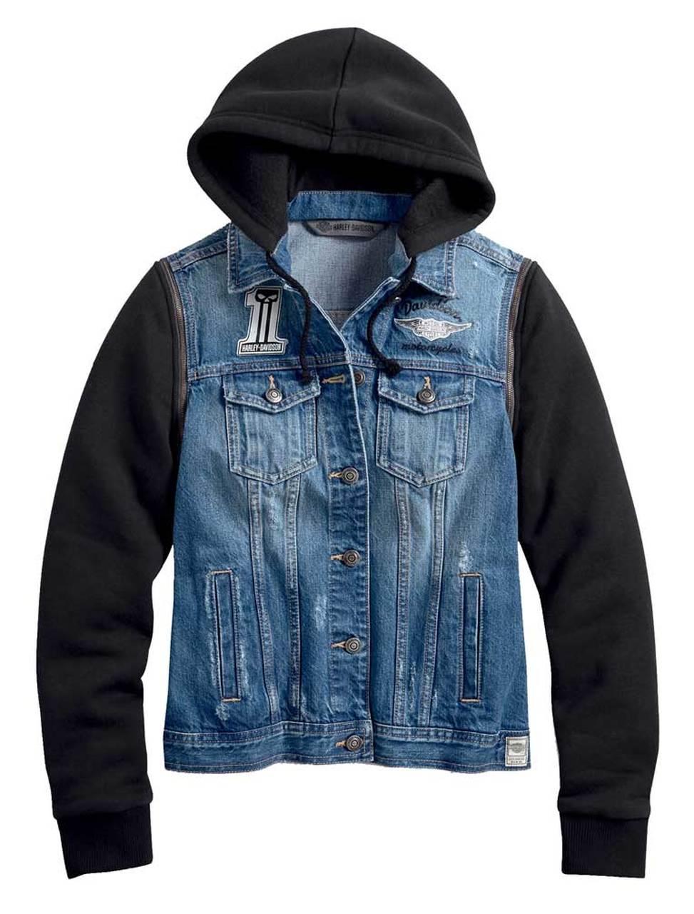Harley-Davidson® Women's Zip-Off Sleeve Denim Jacket - Indigo Wash