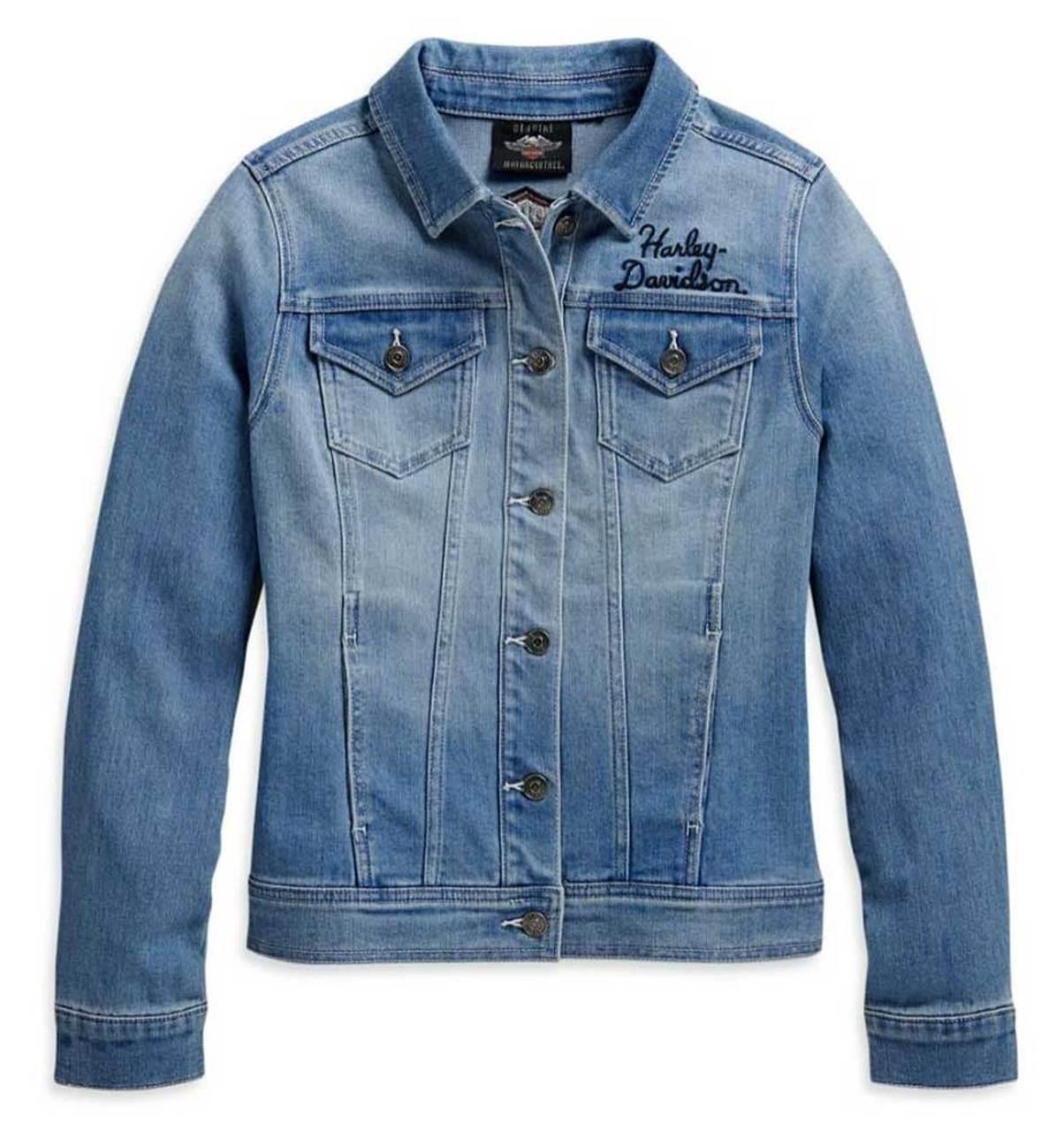 Harley-Davidson® Women's Winged Logo Cotton Blend Denim Jacket, Blue