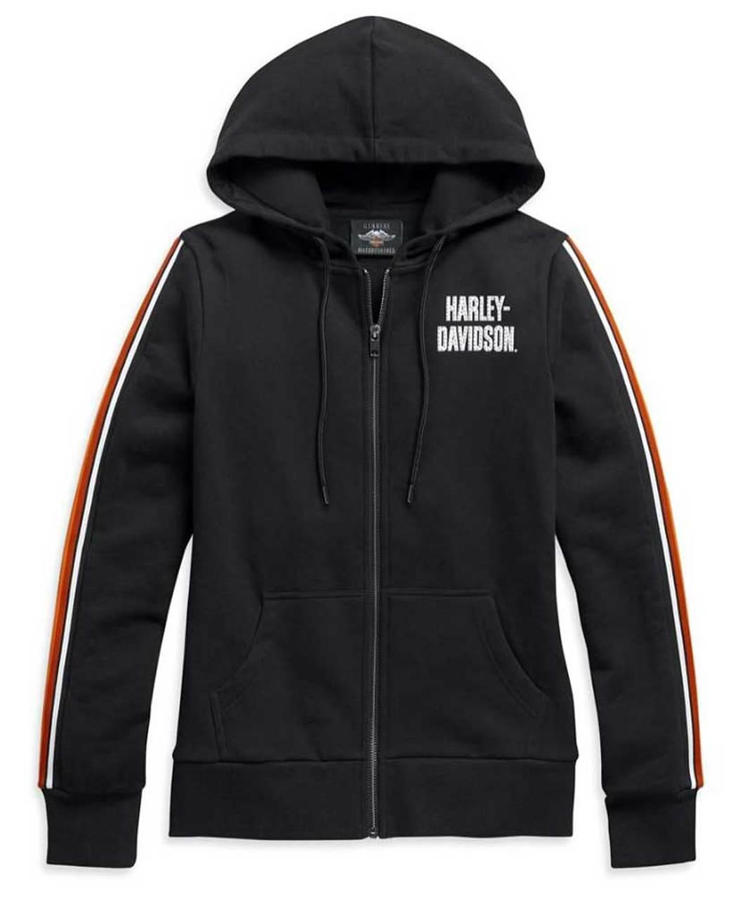 Harley-Davidson® Womens Sleeve Stripe Embellished Zip-Up Hoodie, Black