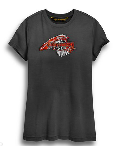 Harley Davidson Women's Sublimated Embroidery Eagle Tee