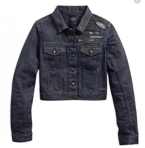 Harley Davidson coated denim trucker jacket womens, black