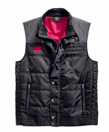 Harley Davidson ripstop accent quilted vest men's, black