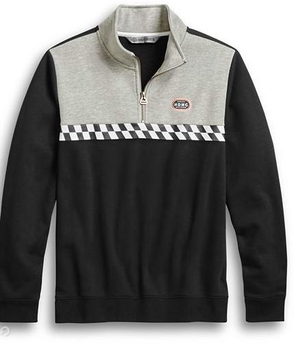 Harley Davidson Men's Race Stripe Slim Fit 1/4-Zip Pullover