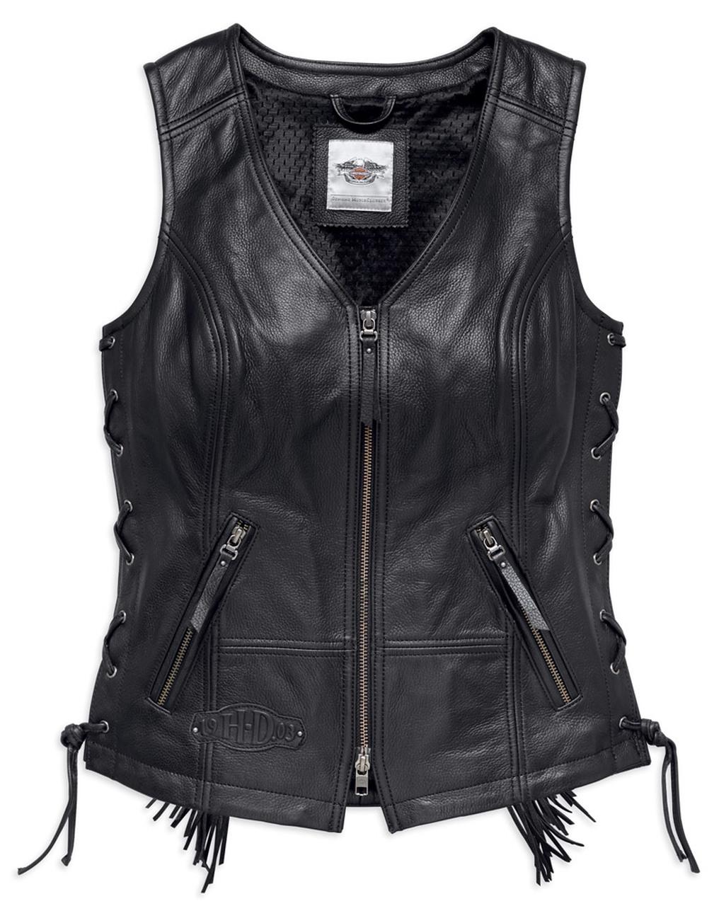 Harley-Davidson® Women's Boone Fringed Side Lace Leather Vest, Black