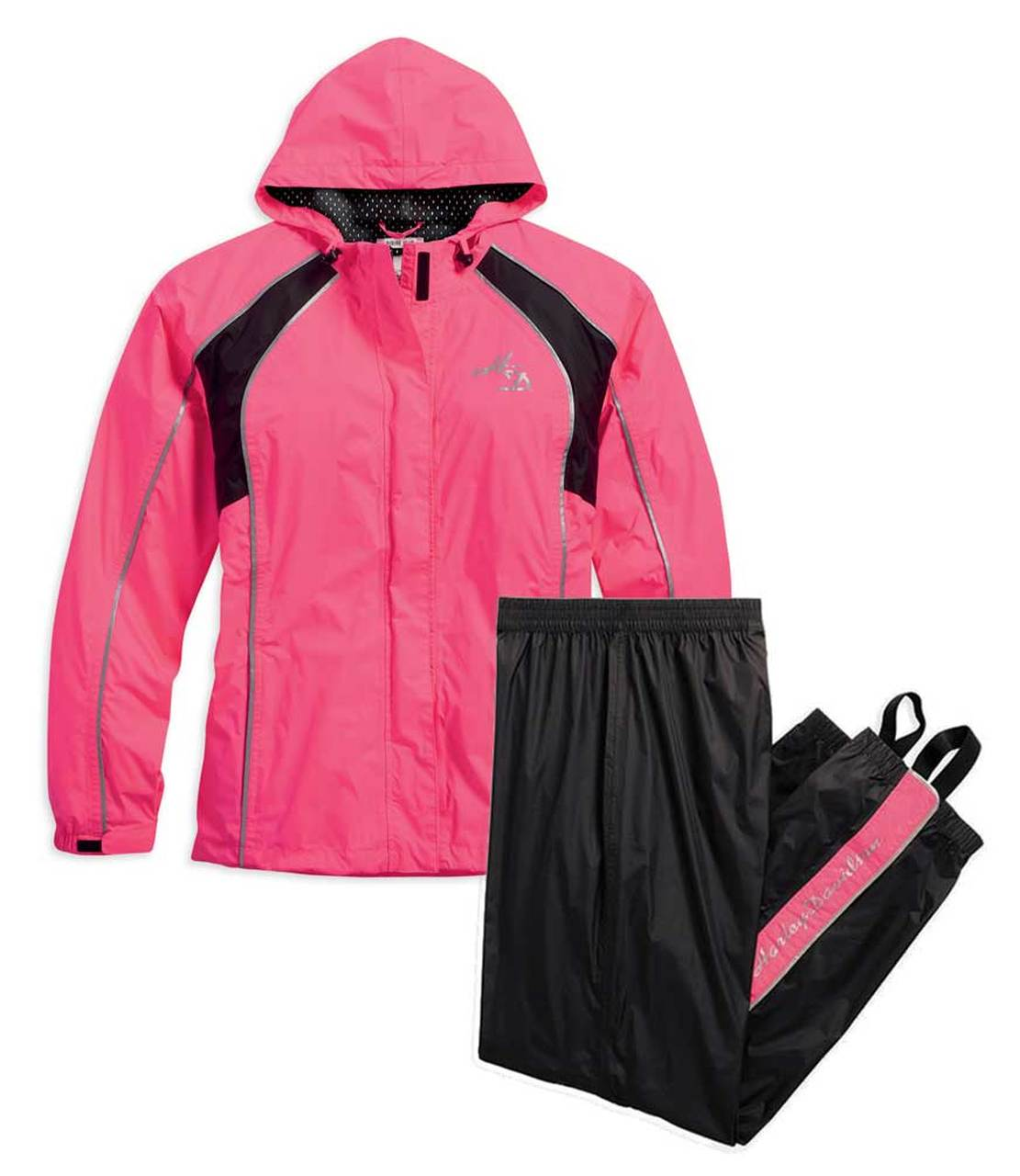 Harley-Davidson® Women's Hi-Vis Reflective Rain Suit, Pink/Black.
