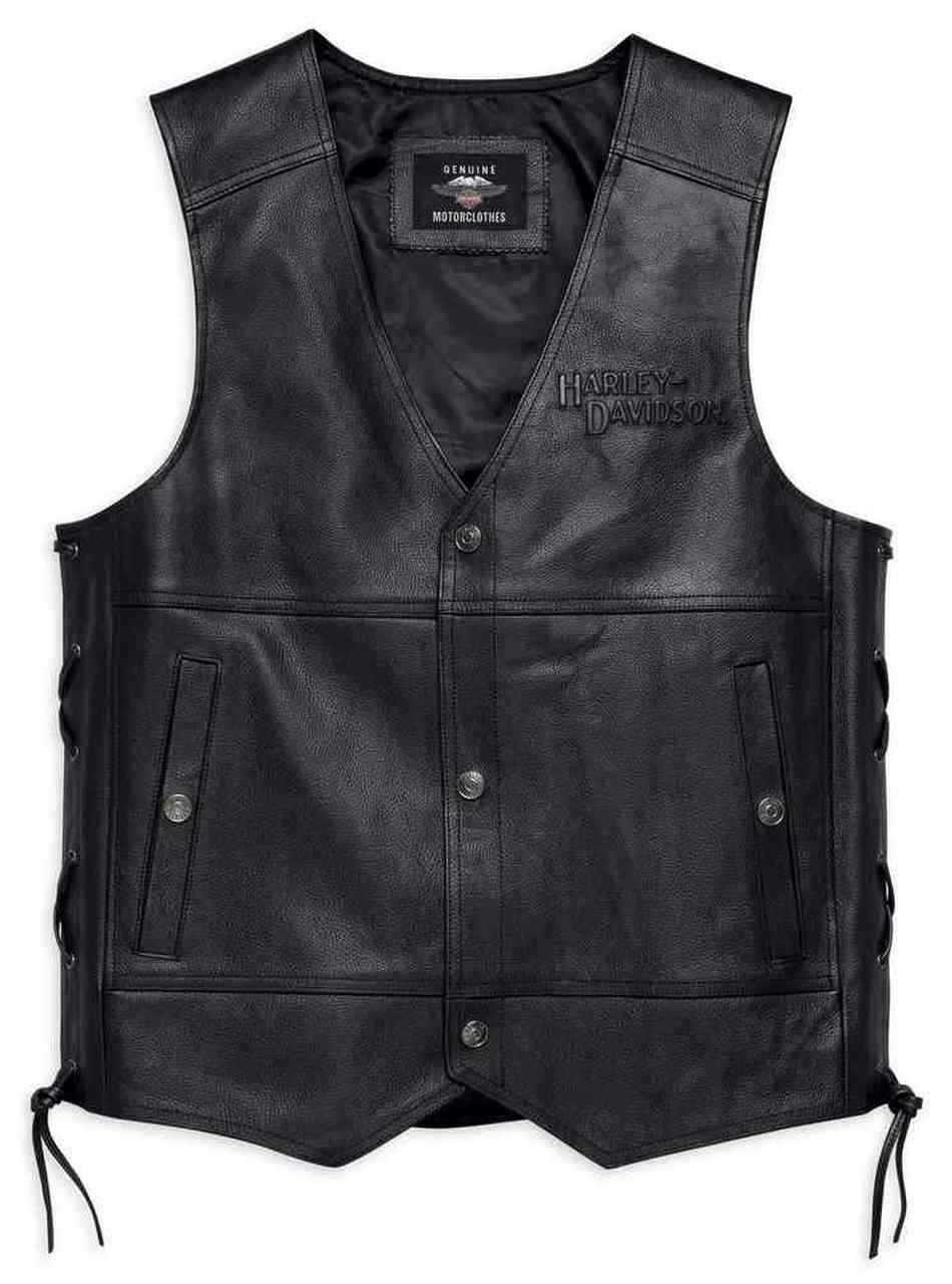 Harley-Davidson® Men's Tradition II Midweight Leather Vest, Black