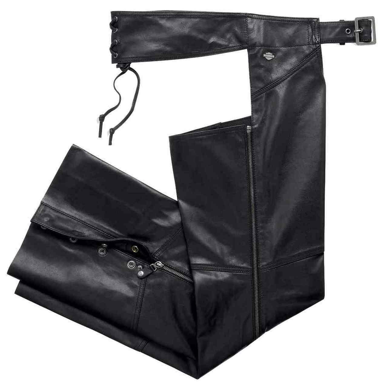 Harley-Davidson® Women's Essentials Leather Riding Chaps, Black.