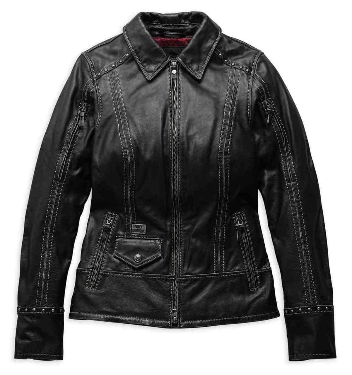 Harley-Davidson® Women's Intrepidity Vented Leather Jacket, Black