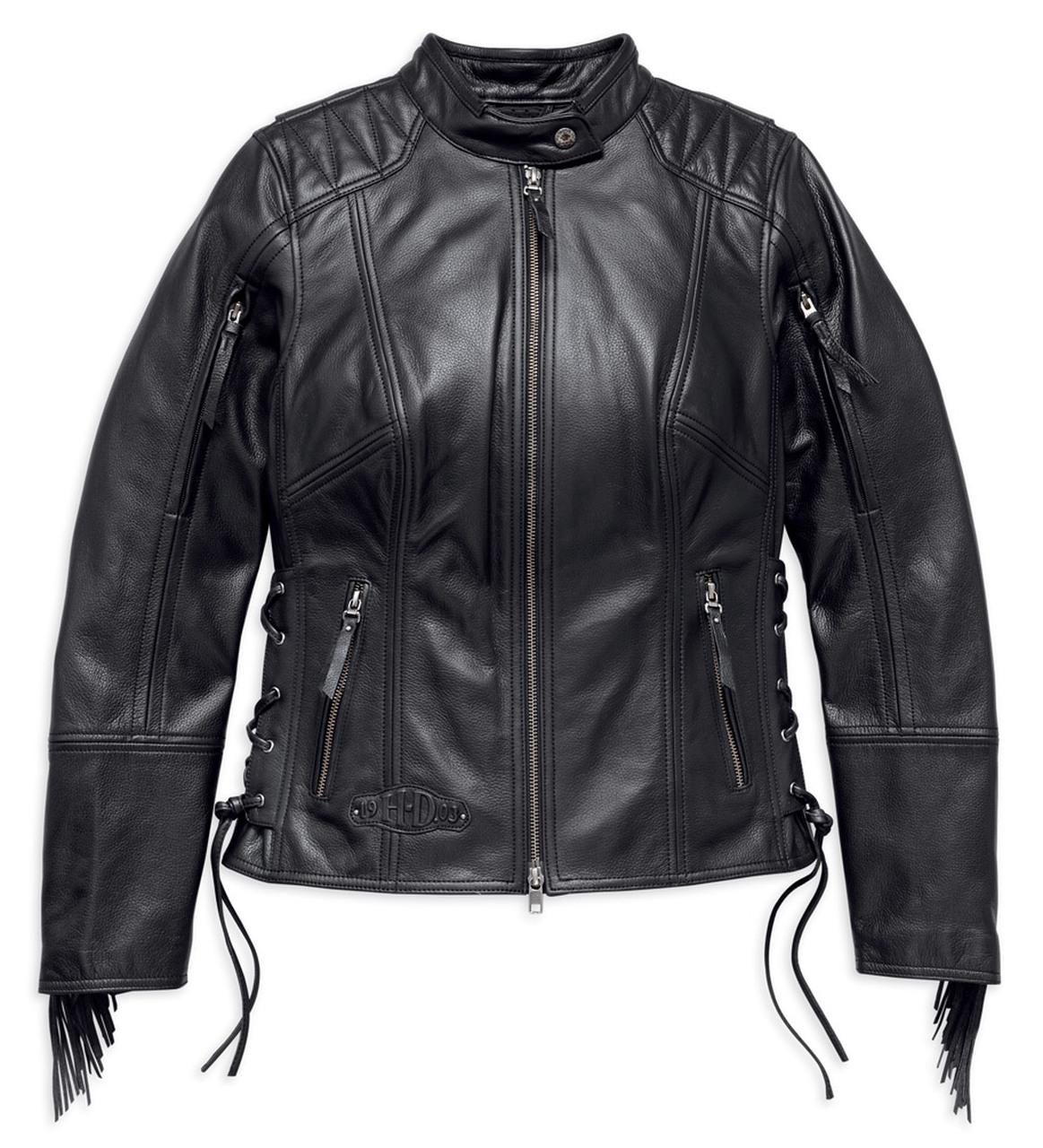Harley Davidson Boone fringed leather jacket women's, black