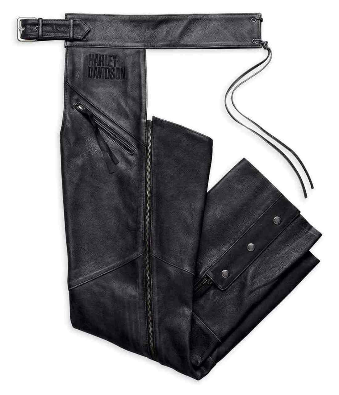 Harley-Davidson® Men's Embroidered Distressed Leather Chaps, Black
