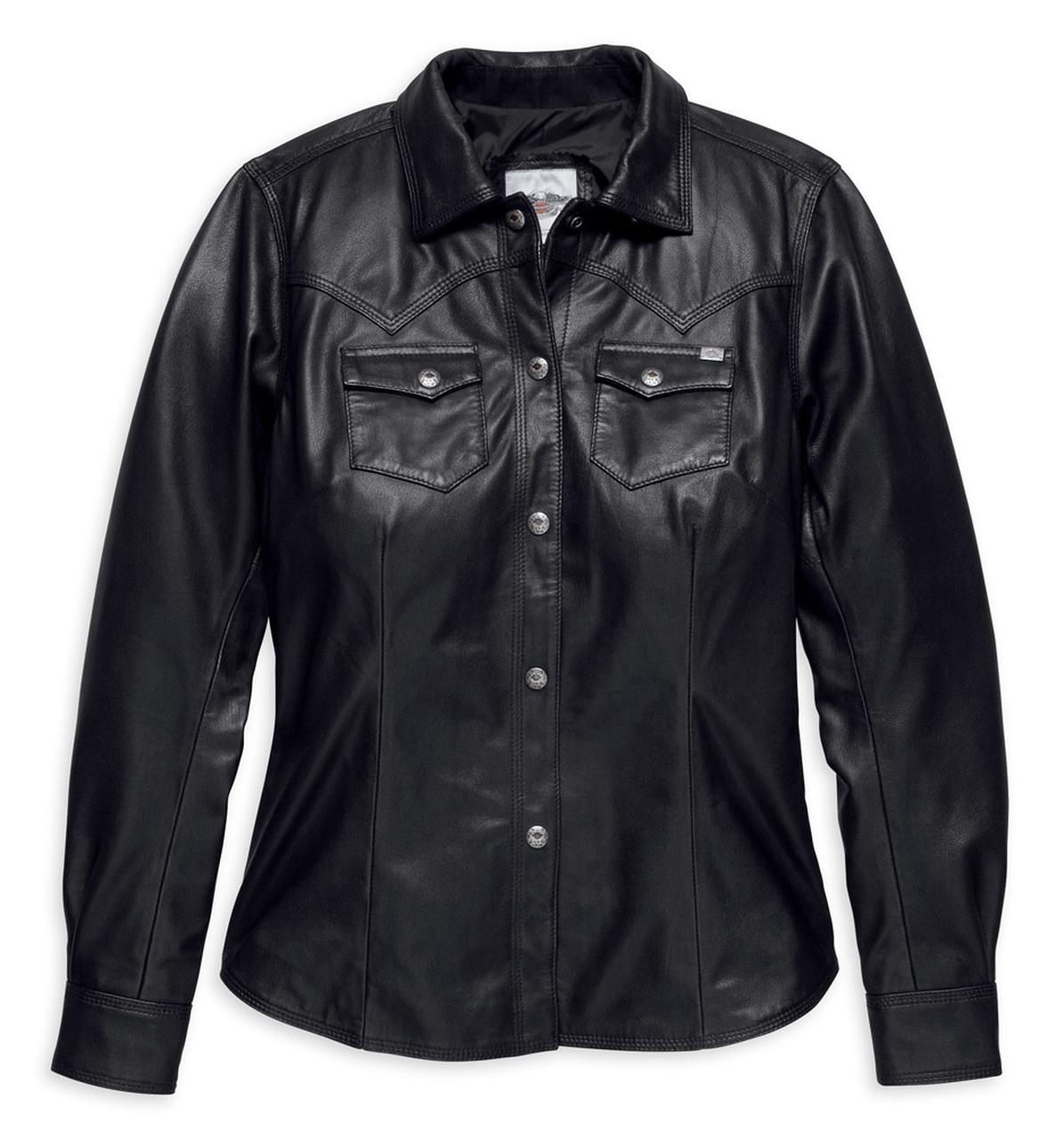 Harley-Davidson® Women's Melrose Light Leather Shirt Jacket, Black