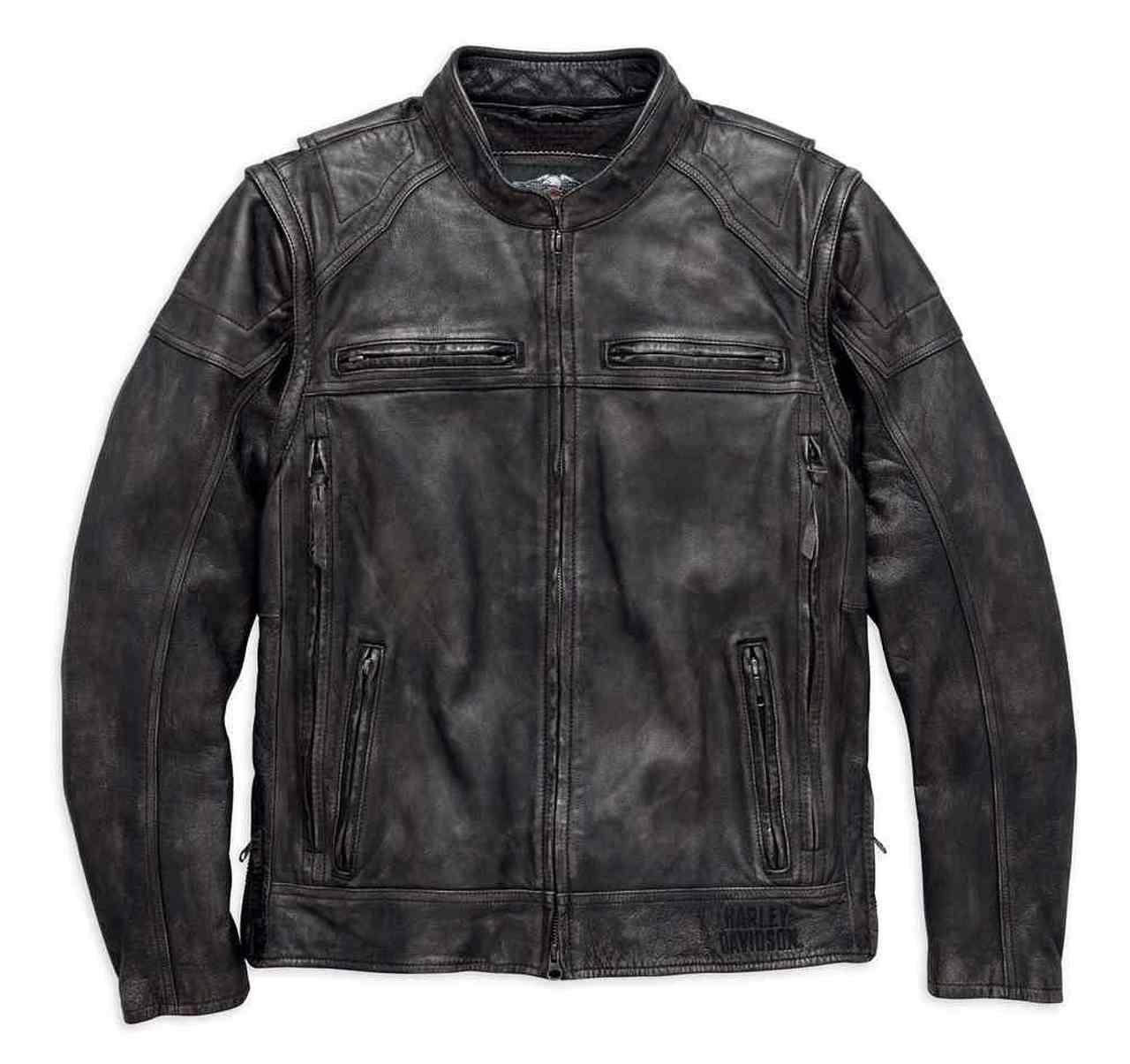 Harley-Davidson® Men's Dauntless Convertible Leather Jacket, Black