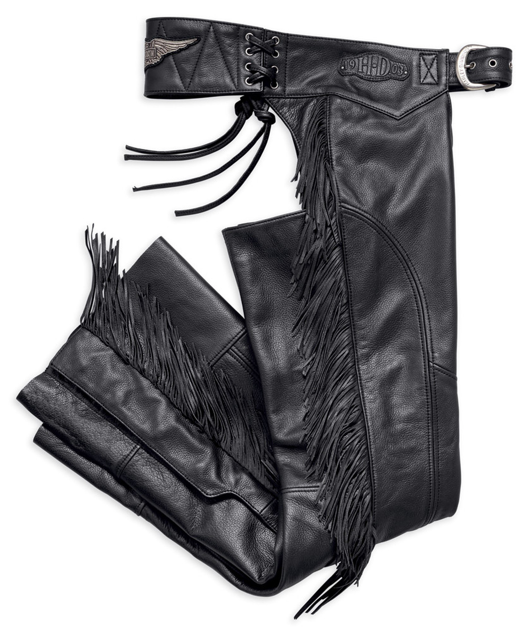 Harley-Davidson® Women's Boone Fringed Legs Leather Chaps, Black
