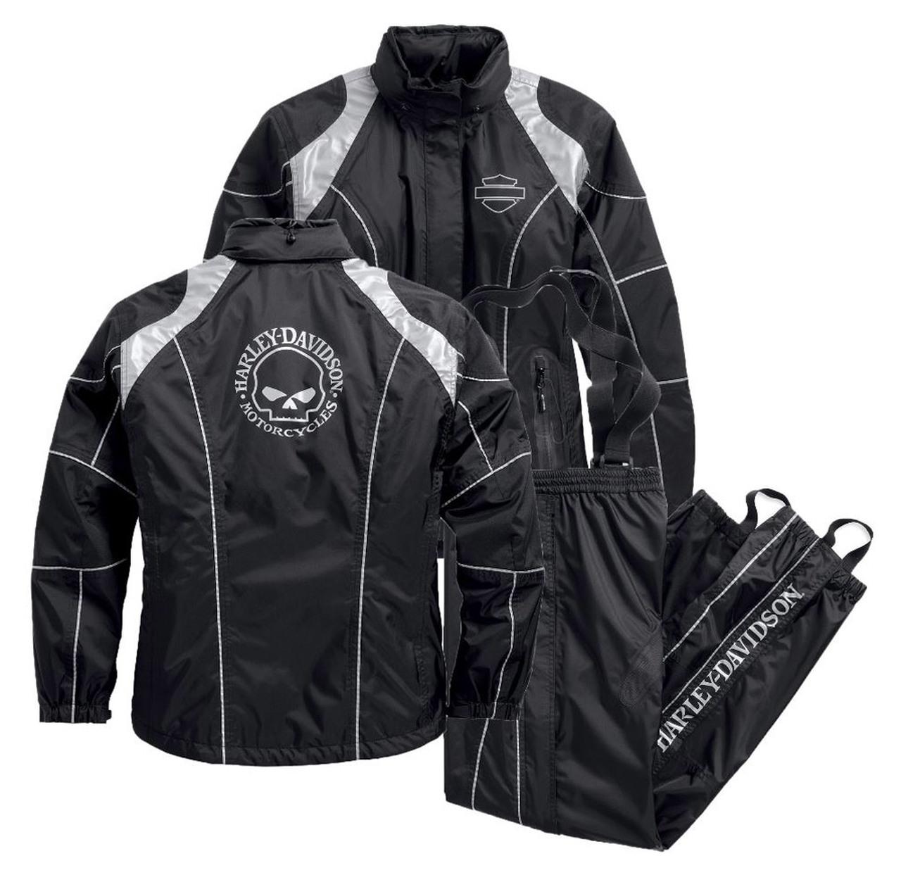 Harley-Davidson® Women's Rain Suit, Willie G. Skull Rain Gear, Black