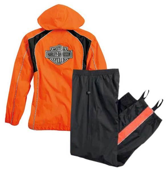 Harley-Davidson® Womens Hi-Vis Orange Rain Suit Waterproof Jacket/Pant