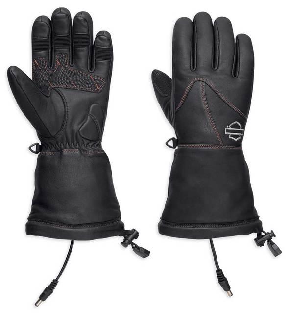 Harley-Davidson® Women's Heated BTC 12V Leather Gauntlet Gloves, Black