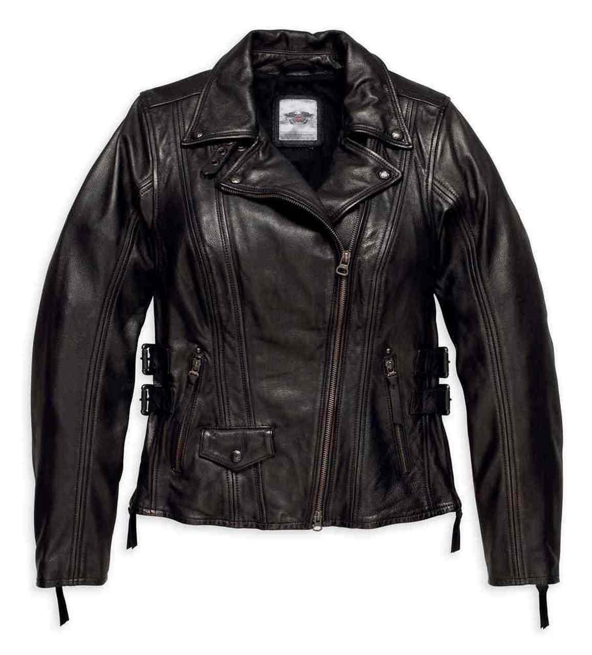Harley-Davidson® Women's Faircrest Patina Leather Biker Jacket, Black