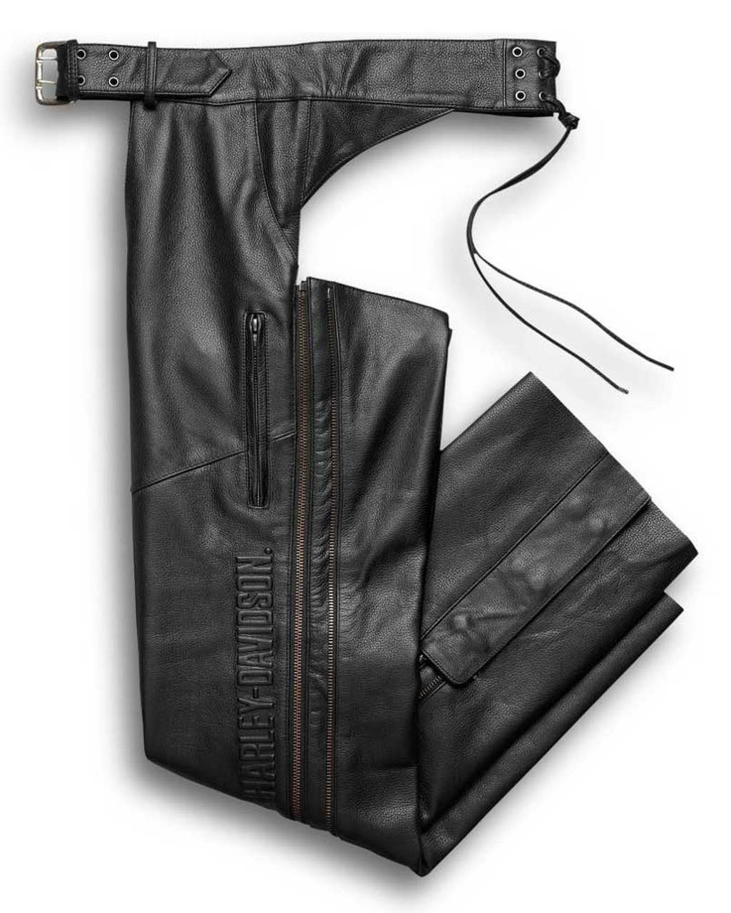 Harley-Davidson® Men's Deluxe Midweight Leather Chaps, Black