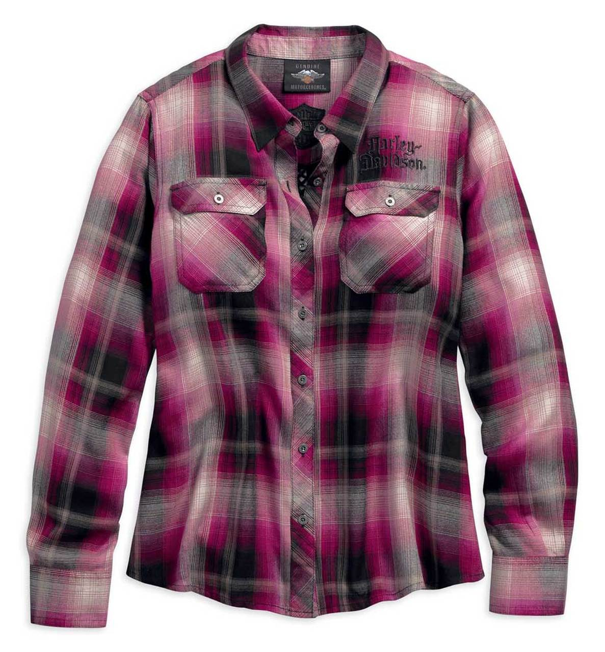 Harley-Davidson® Women's Hearts & Serpents Laced Plaid Shirt, Pink