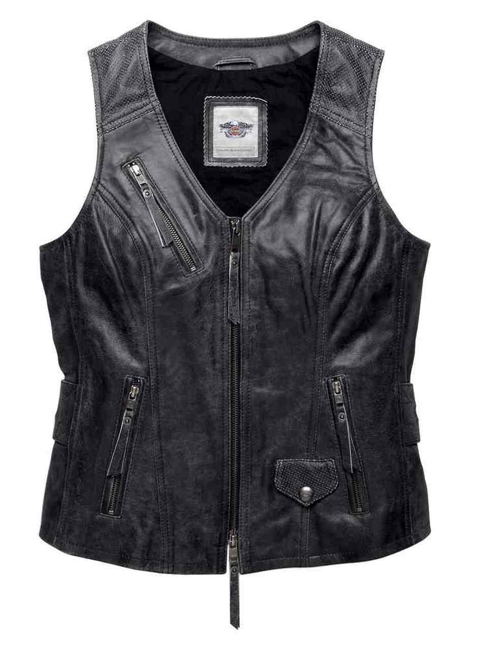 Harley-Davidson® Women's Distressed Dust Rider Leather Vest, Black