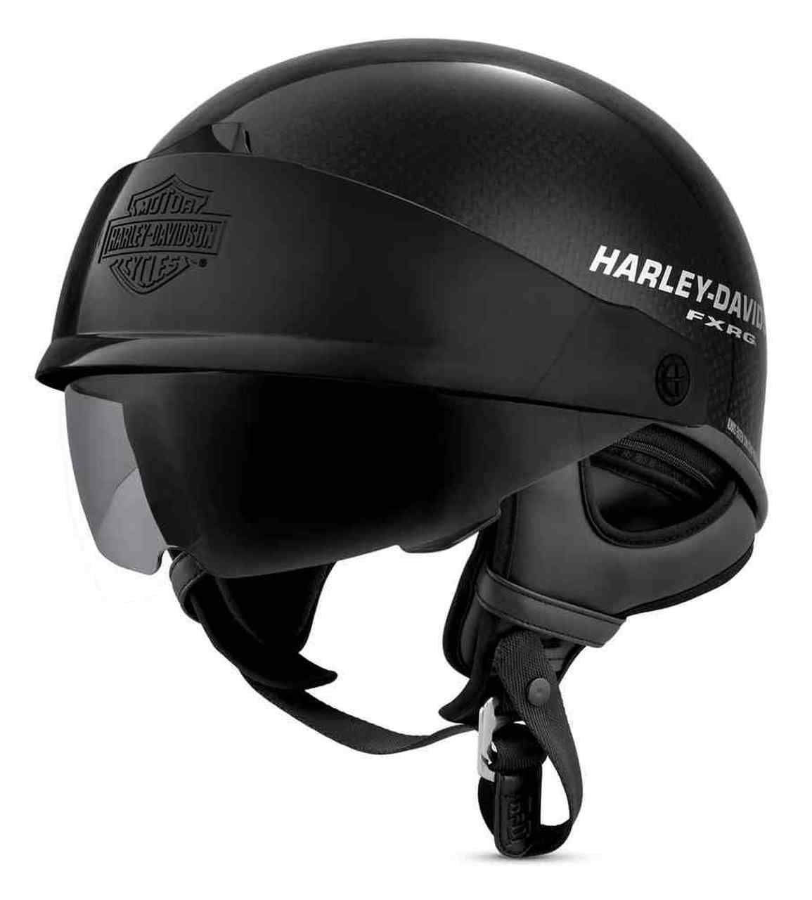 Harley-Davidson® Men's FXRG J07 Carbon Fiber Half Helmet, Gloss Black
