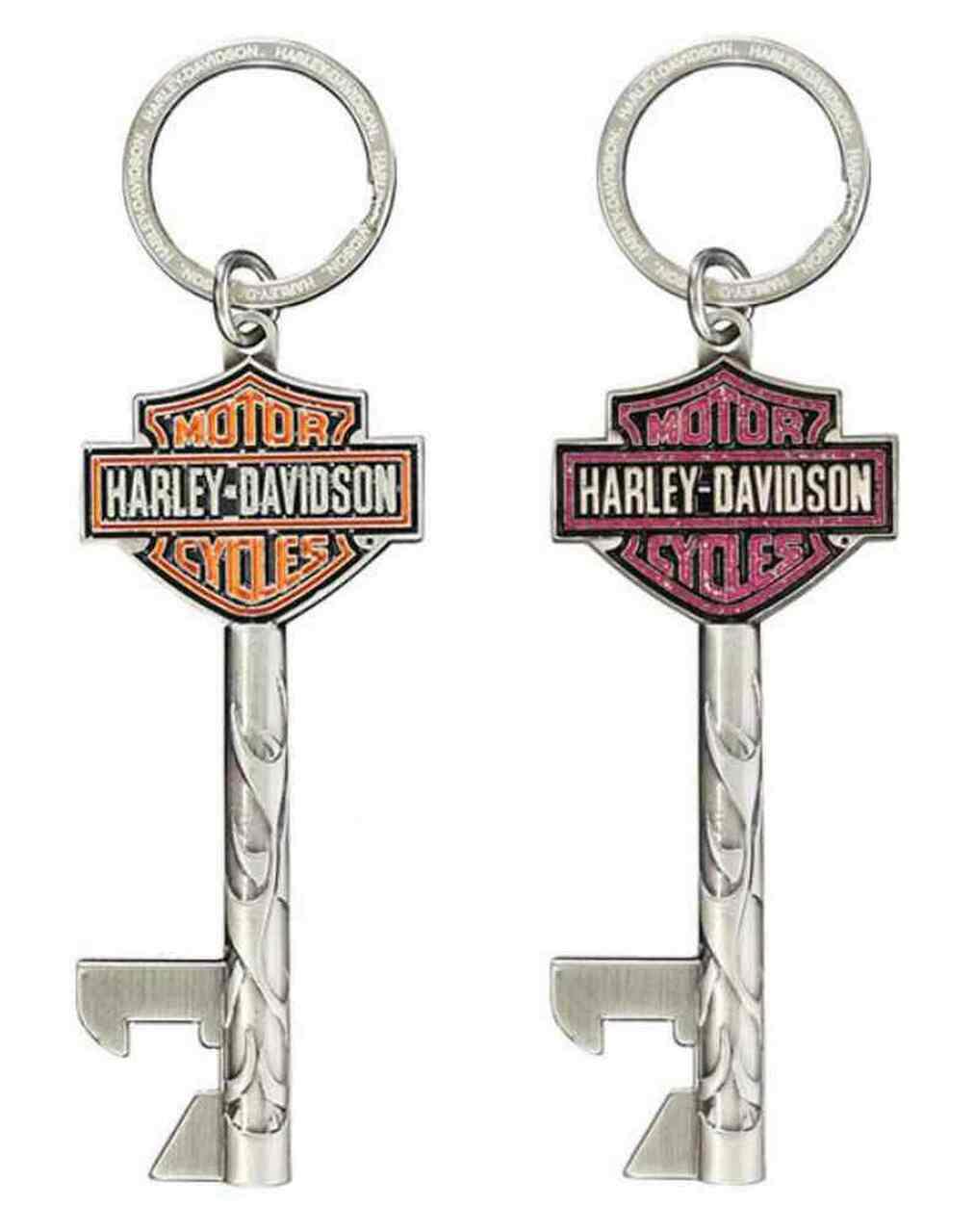 HARLEY DAVIDSON KEYCHAIN, B&S  KEYS, ANTIQUED 3D DIE CAST, SET OF 2