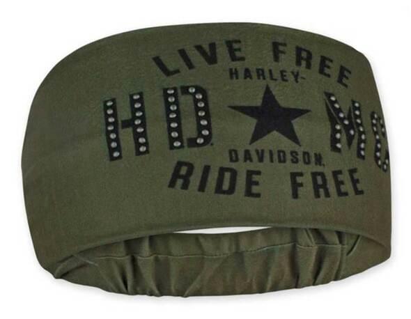 HARLEY DAVIDSON HEADBAND SCRUNCHIE, RESOLUTE, BLACK & OLIVE