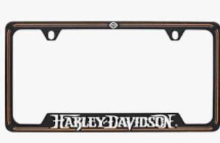 HARLEY DAVIDSON BLACK LICENSE FRAME WITH BAR & SHIELD AND CUSTOM