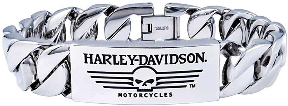 HARLEY DAVIDSON STEEL SKULL WITH LINES CURB LINK BRACELET