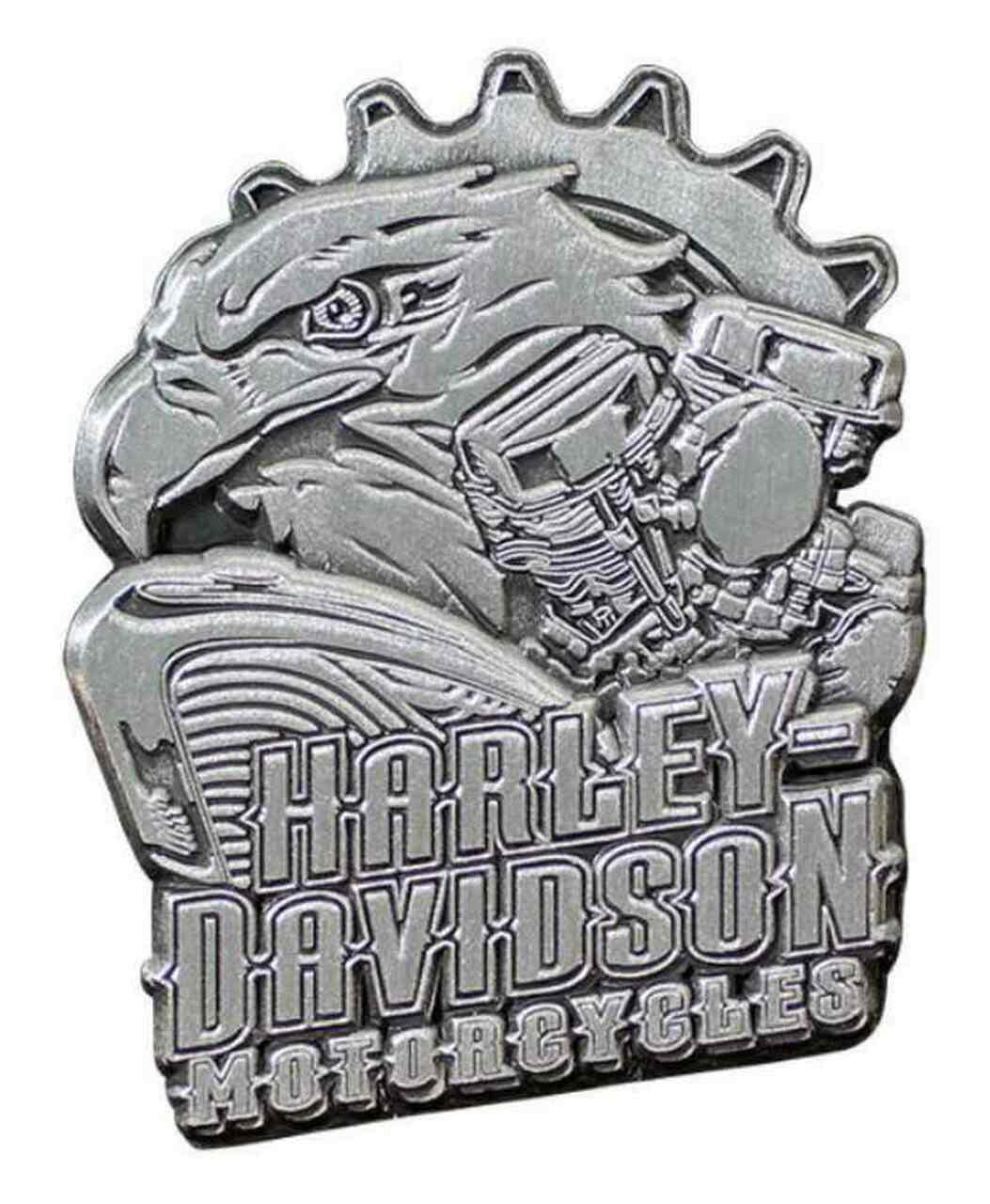 HARLEY DAVIDSON PIN, EAGLE ENGINE, ANTIQUED SILVER FINISH
