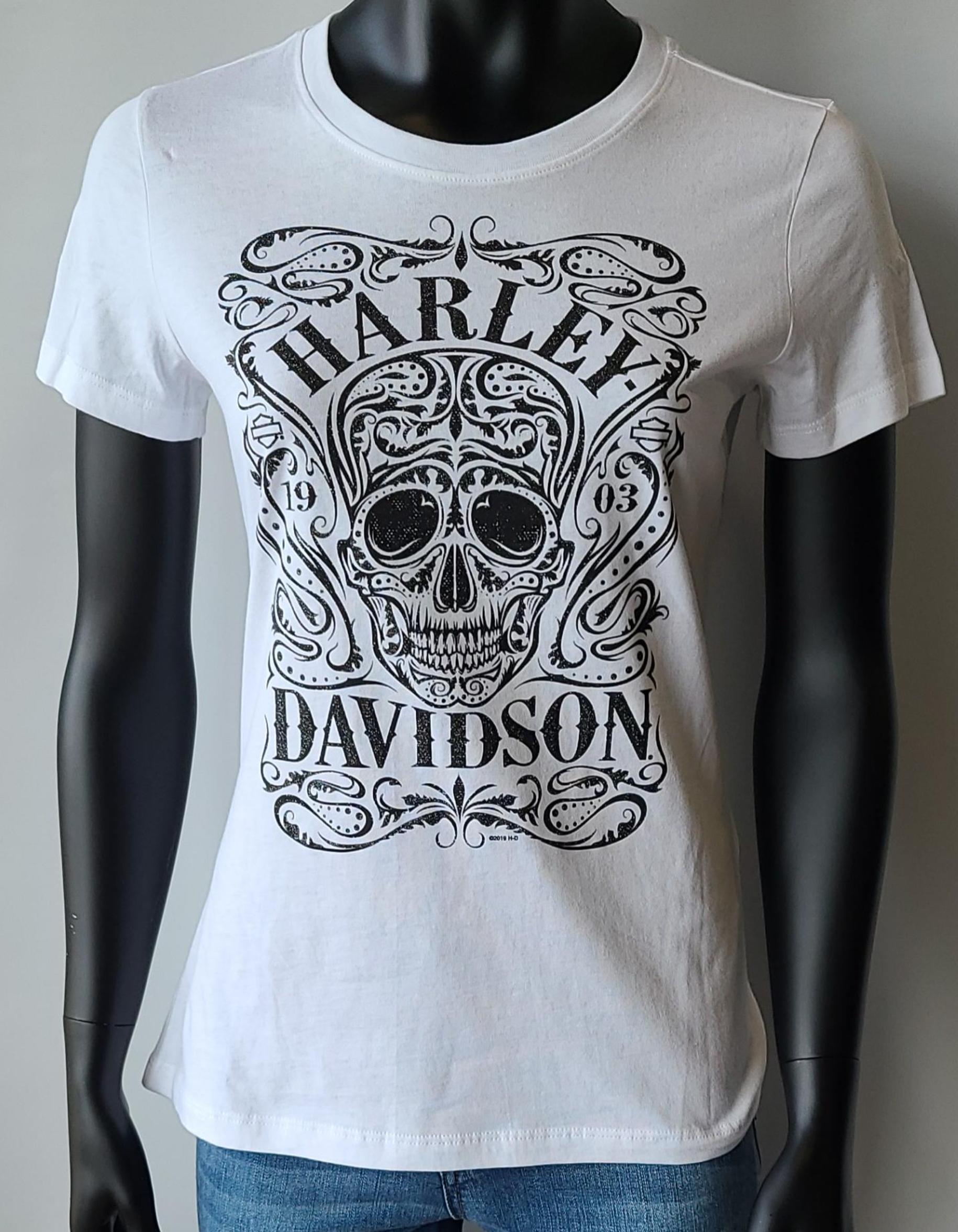 HARLEY DAVIDSON KEEN SKULL LDS T WHITE