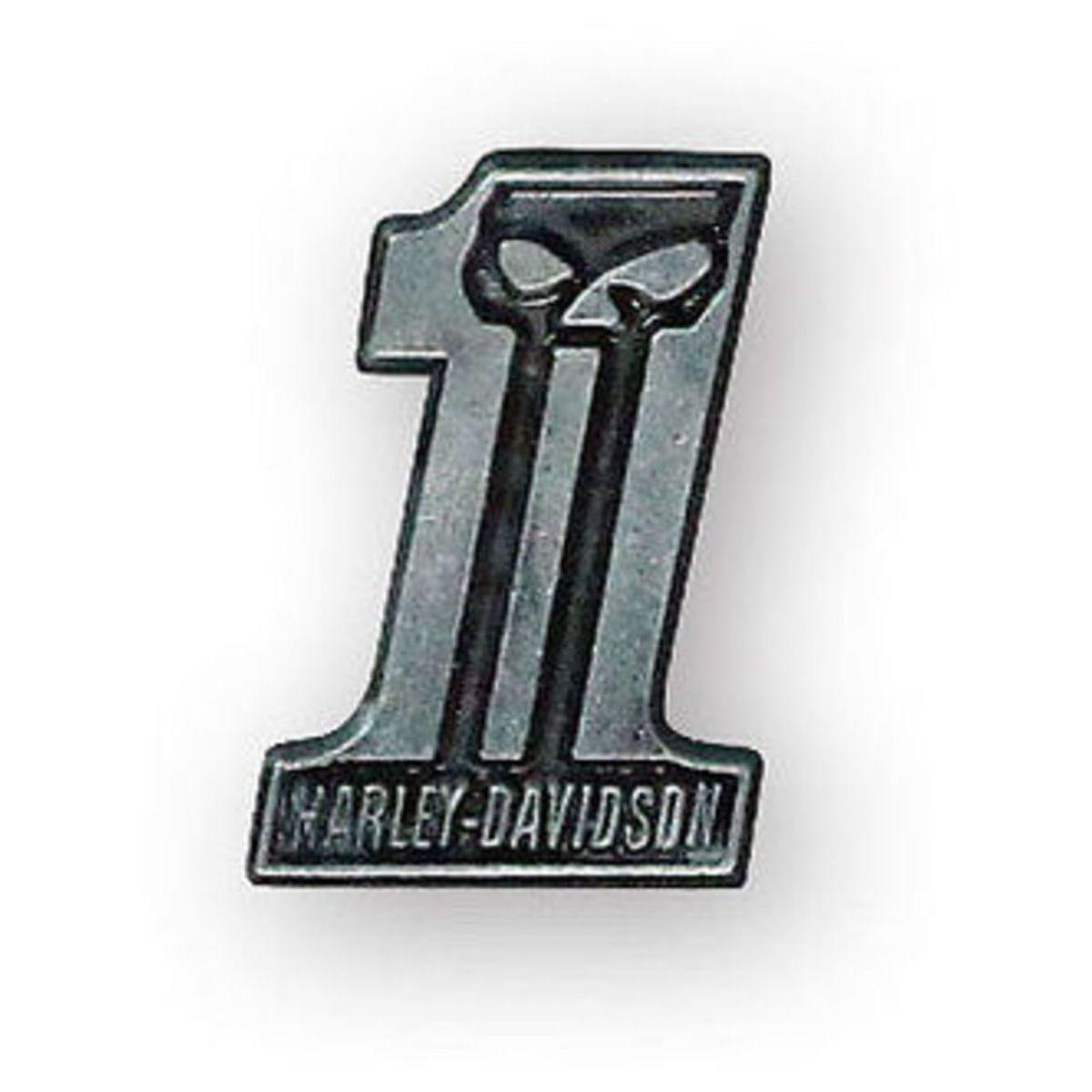 HARLEY DAVIDSON PIN, #1 SKULL, BLACK ANTIQUED NICKEL
