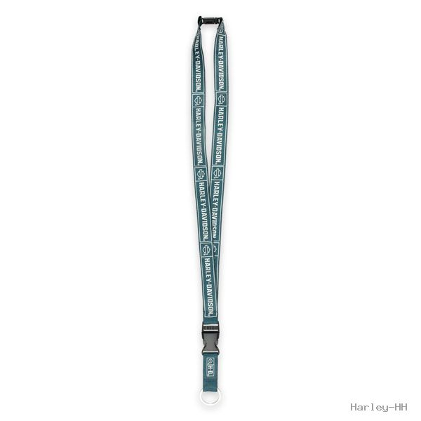 HARLEY DAVIDSON LANYARD, INSIGNIA, STEEL BLUE WOVEN POLYESTER 16 1/2'' LONG