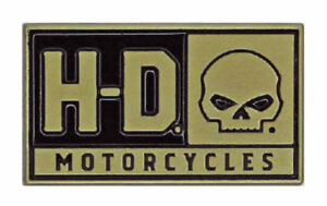HARLEY DAVIDSON PIN, H-D SKULL, 2D DIE CAST W/HEAVY RELIEF, BRUSHED GOLD F