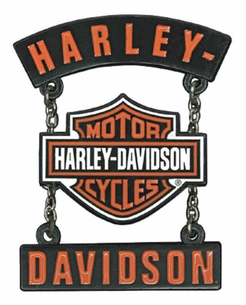 HARLEY DAVIDSON PIN, H-D B&S ROCKERS, 3D DIE CAST W/ SILVER CHAINS, SPRAY