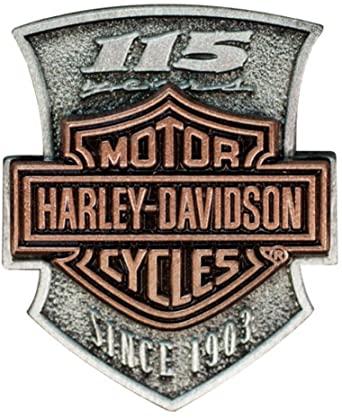 HARLEY DAVIDSON PIN, 115 FONT, 2D DIE STRUCK, ANTIQUE SILVER & ANTIQUE COPP