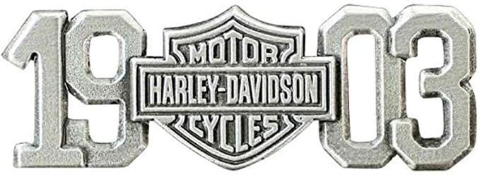 HARLEY DAVIDSON PIN, 1903 BAR AND SHIELD, ANTIQUED AND POLISHED SILVER