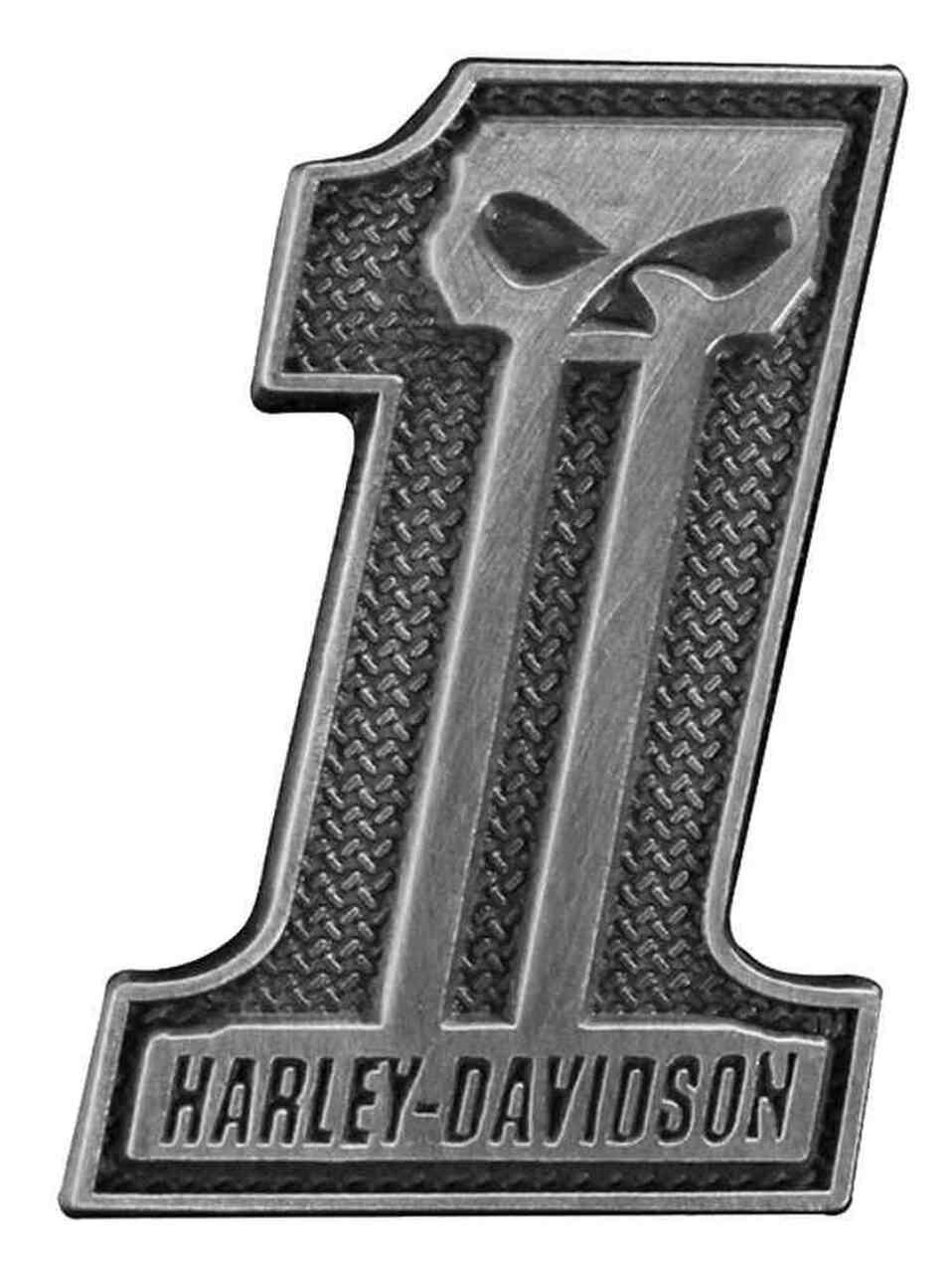 HARLEY DAVIDSON PIN, 31 SKULL, ANTIQUED SILVER FINISH, FLAT HEAD PIN BACKS