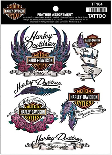 HARLEY DAVIDSON TEMPORARY TOTTOO, FEATHER ASSORTMENT, 4 COLOR PROCESS, FOIL