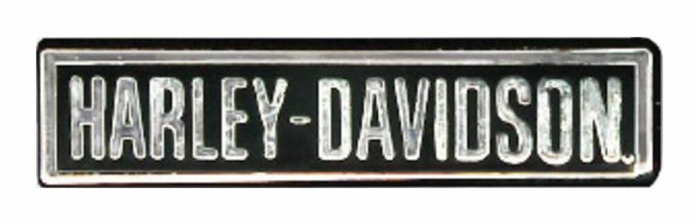 HARLEY DAVIDSON PIN, HARLEY-DAVIDSON, POLISHED SILVER W/ENAMEL FILL, 1''W X