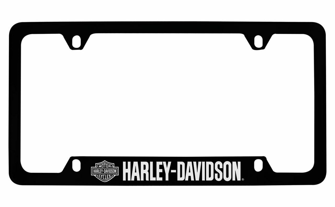 HARLEY DAVIDSON 4 HOLES BLACK FRAME WITH METALLIC LETTERING-BOTTOM HD LOGO