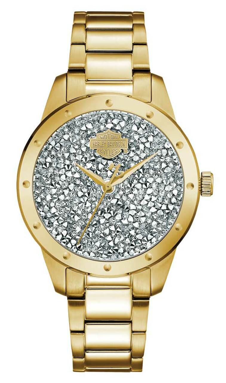 HARLEY DAVIDSON WOMENS B&S CRYSTAL ROCKS WATCH, GOLD TONE STAINLESS STEEL