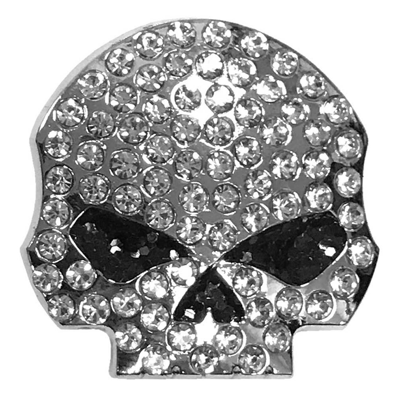 HARLEY DAVIDSON PIN, STUDDED SKULL, 3D DIE CAT, POLISHED SILVER, WITH RHINEST