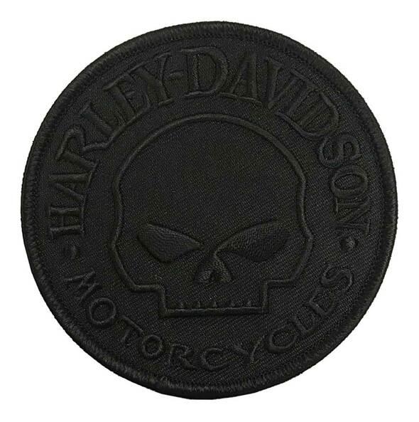 HARLEY DAVIDSON EMBLEM, SKULL, XS, TONE ON TONE BLACK