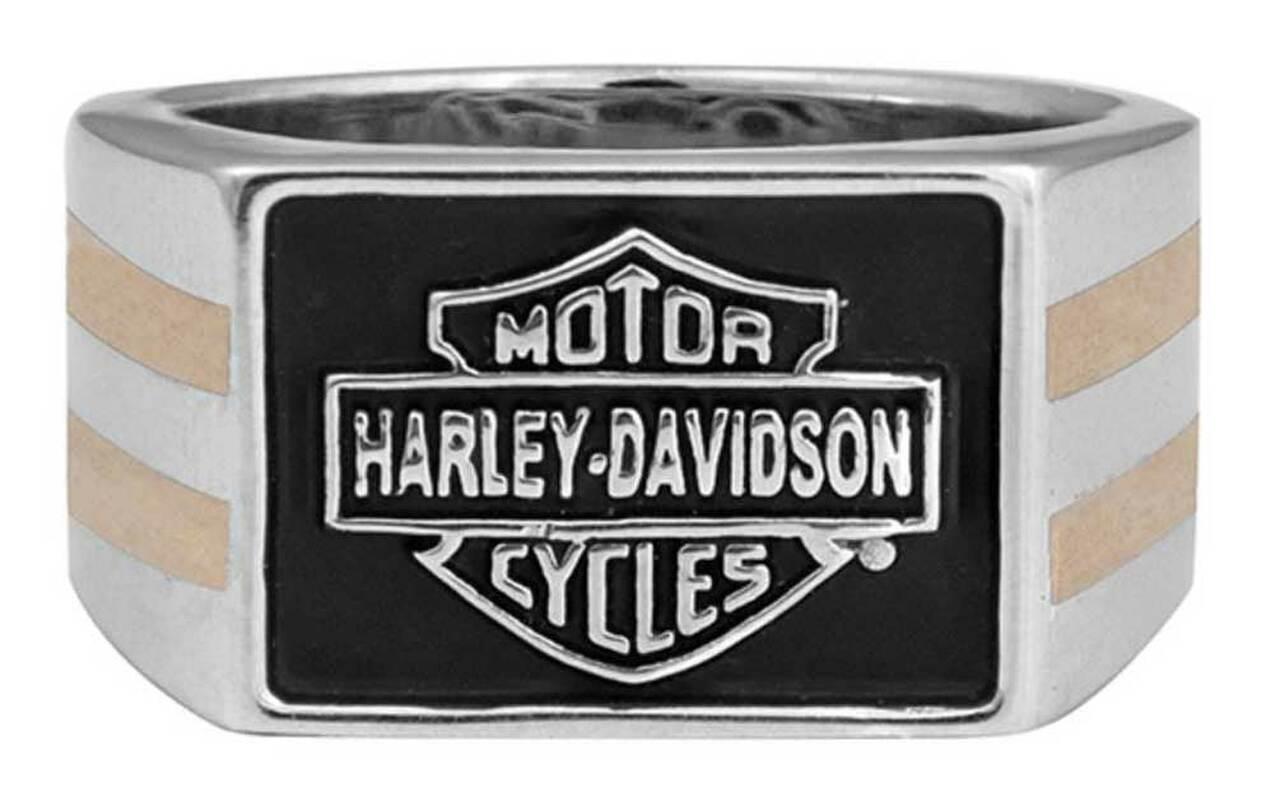 HARLEY DAVIDSON 14K GOLD INLAY & SILVER MEN'S B&S SIGNET