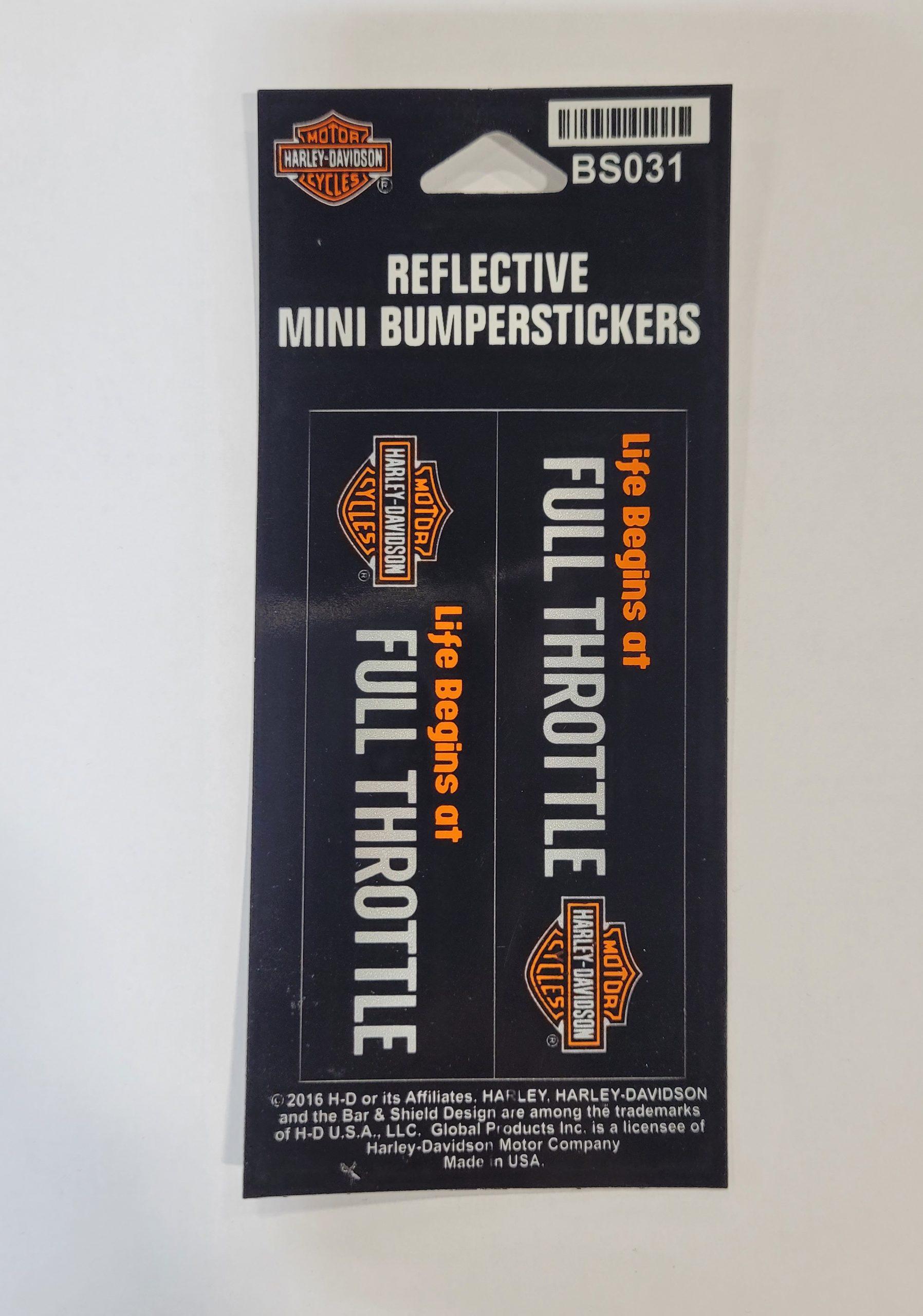 HARLEY DAVIDSON BUMPERSTICKER, FULL THROTTLE, SM, REFLECTIVE, 2 PER SHEET