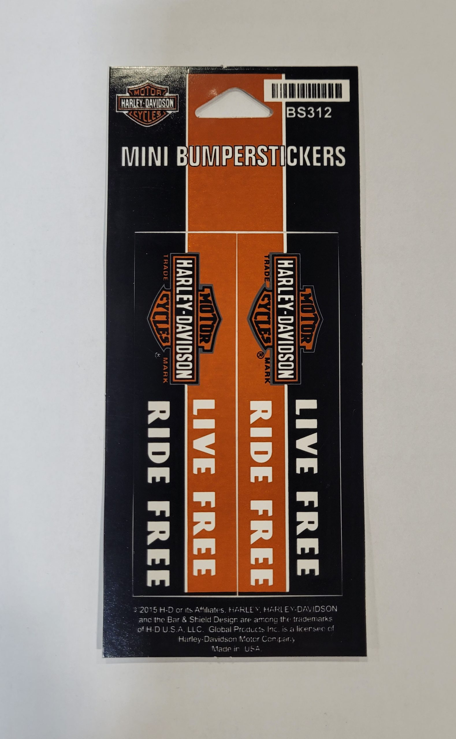 HARLEY DAVIDSON BUMPERSTICKER LONG BAR & SHIELD SM 2 PER SHEET